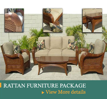 rattan urniture package, packages include Bedroom, Living room, and Dining Room