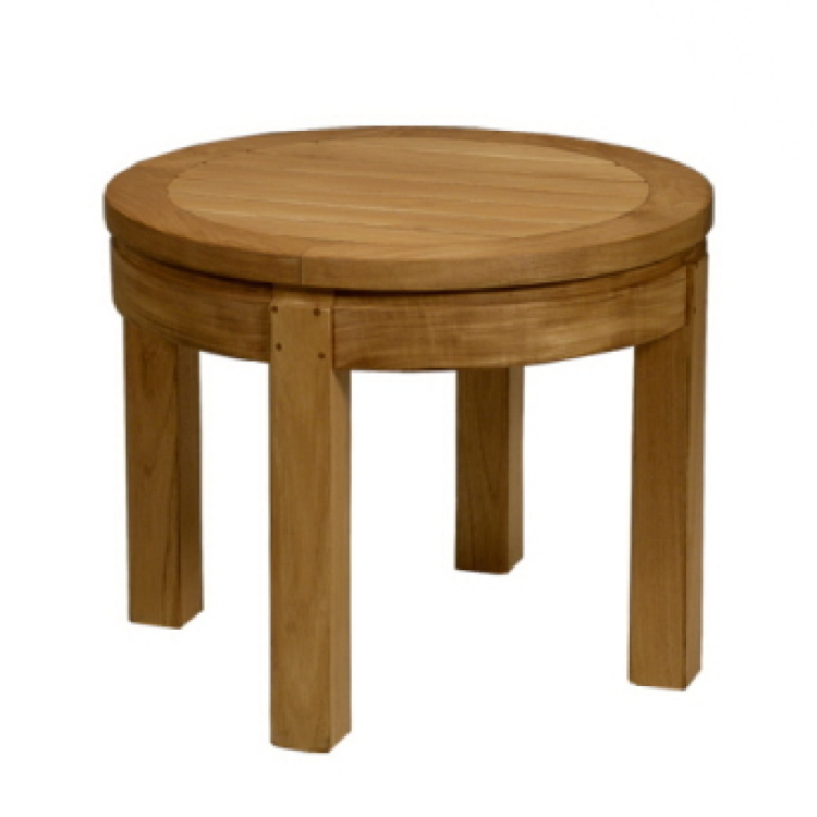 Bevel outdoor round side table costa rican furniture for Outdoor teak side table