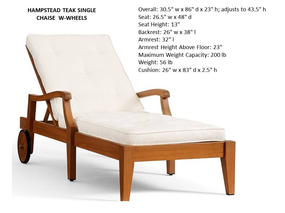 Hampstead Chaise Lounge W Wheels And Cushion Costa Rican