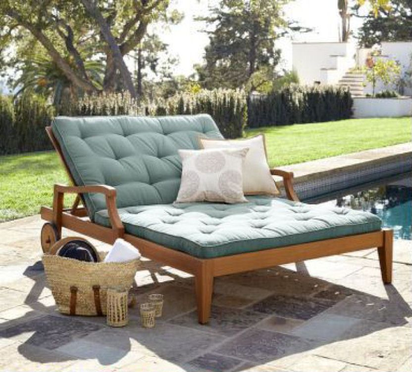 Hampstead teak double chaise lounge chair costa rican for Chaise longue double en bois