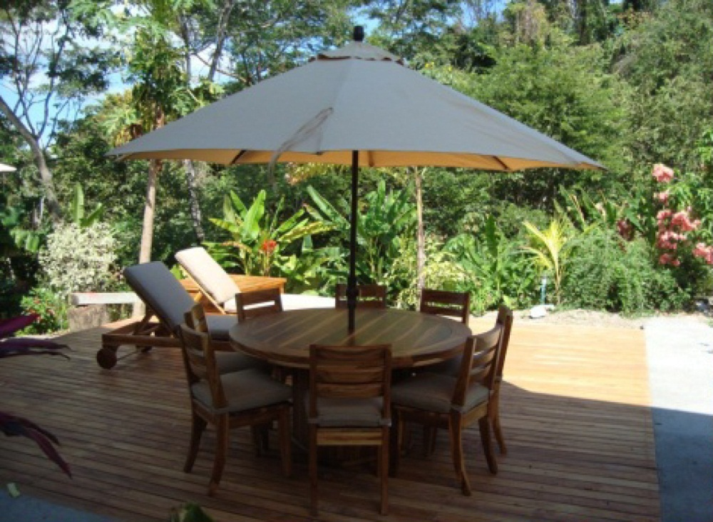 Teak Outdoor Peninsula Round Dining Table And Chairs