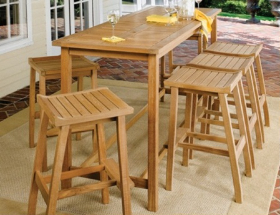 Teak Outdoor Pub Table And Bar Stools Costa Rican Furniture