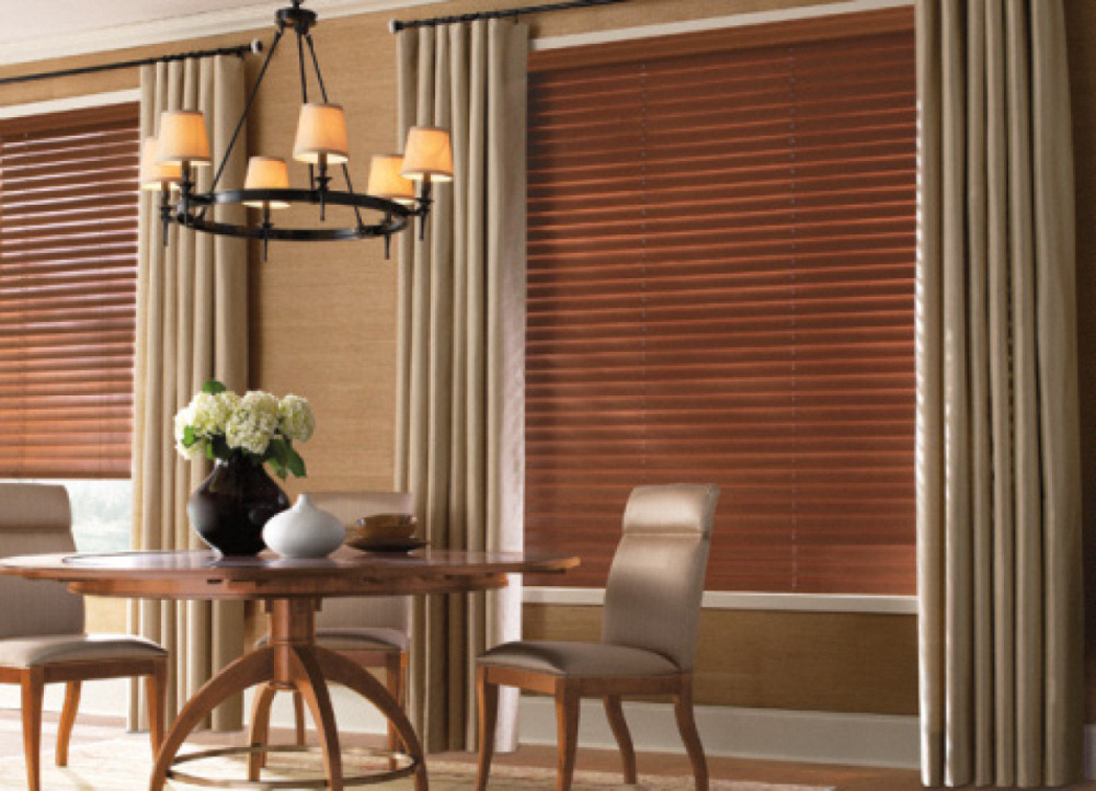 Wooden blinds and drapes costa rican furniture Curtains venetian blinds