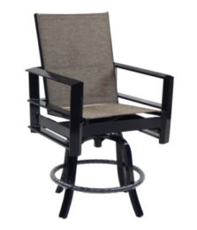 Vertice City High Back Sling Swivel Counter Stool