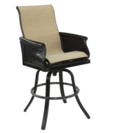 English Garden High Back Sling Swivel Bar Stool