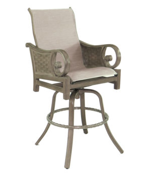 Riviera High Back Sling Swivel Bar Stool