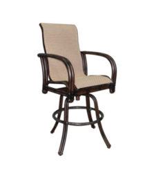 Meridian High Back Sling Swivel Bar Stool