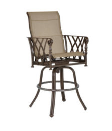 Veranda High Back Sling Swivel Bar Stool