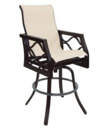 Villa Bianca High Back Sling Swivel Bar Stool